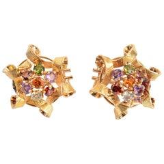 Festive Multigem Gold Ribbon Earrings