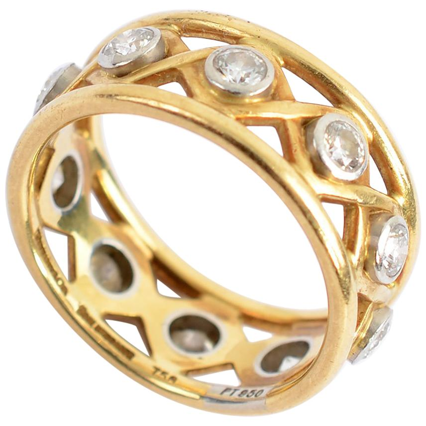 Schlumberger for Tiffany & Co. Openwork Gold Diamond Band Ring