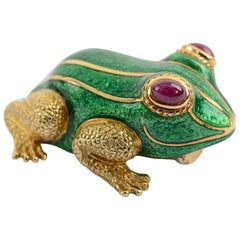David Webb Gold and Enamel Frog Brooch with Ruby Eyes