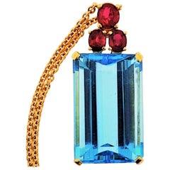 18 Karat Yellow Gold, Blue Topaz '45.88 Carat' and Ruby '2.18 Carat' Necklace