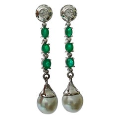 Diamond Emeralds and South Sea Pearl Dangle Drop Earrings 18 Karat