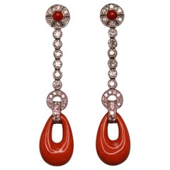 Edwardian Style Diamond Coral 18 Karat White Gold Earrings