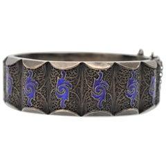 19th Century Russian Filigreed Silver Cobalt Blue Cloisonne Enamel Cuff Bracelet