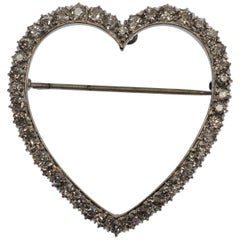 Antique Diamond Covered Platinum Heart Brooch Pin Pendant