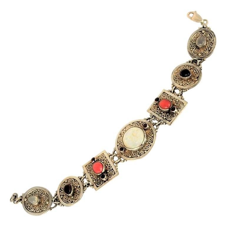 Vintage Sterling Silver Gemstone Boho Style Bracelet For Sale