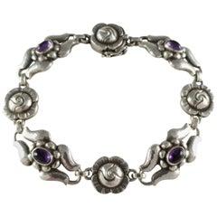 Georg Jensen circa 1933-1944 #18 Silver Amethyst Foliate Bracelet