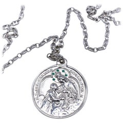 Virgin Mary Medal Emerald Silver Necklace J DAUPHIN