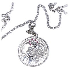 Virgin Mary Miraculous Medal Silver Coin Ruby Chain Necklace J Dauphin