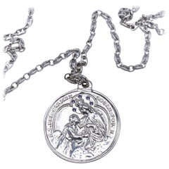 Virgin Mary Medal Iolite Silver Necklace J DAUPHIN