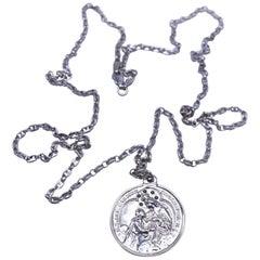 Black Diamond Virgin Mary Miraculous Medal  Silver Necklace J Dauphin
