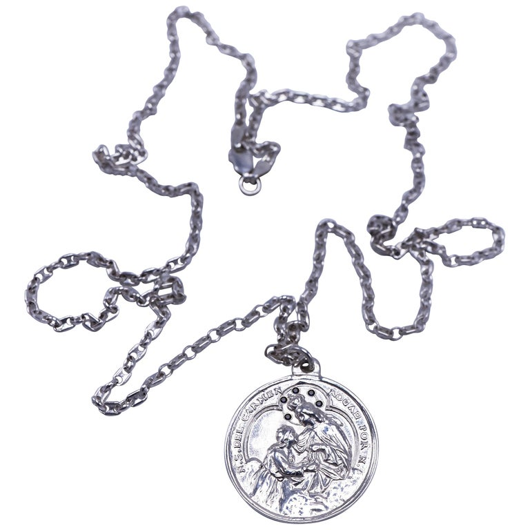 Black Diamond Virgin Mary Miraculous Medal  Silver Necklace J Dauphin For Sale