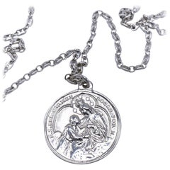 Miraculous Virgin Mary Necklace White Diamond Silver J Dauphin