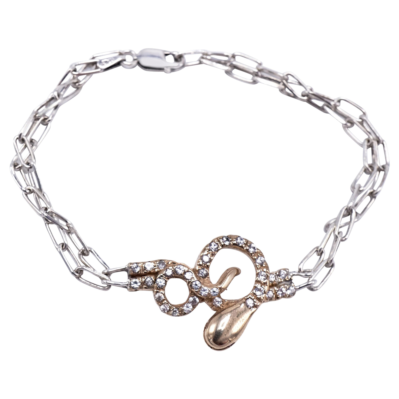 White Diamond Gold Snake Sterling Silver Chunky Chain Bracelet J Dauphin
