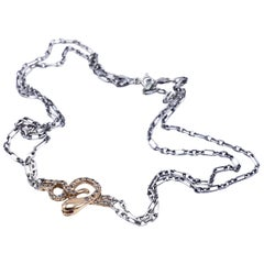 White Diamond Gold Snake Choker Necklace J DAUPHIN