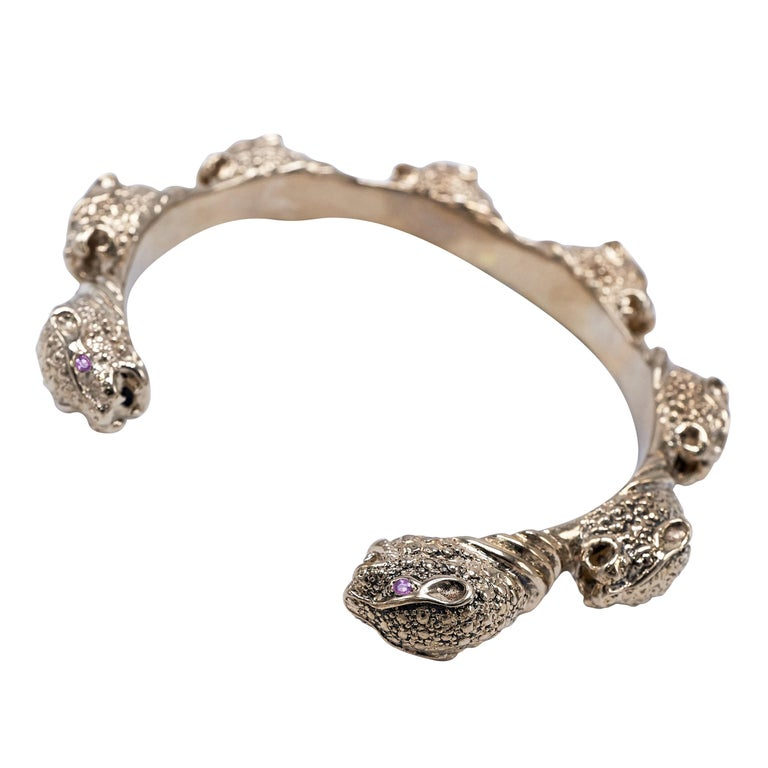 Pink Sapphire Jaguar  Arm Cuff Bracelet J Dauphin For Sale