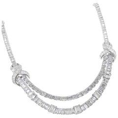 Stunning Midcentury Platinum Baguette Diamond Necklace, circa 1955
