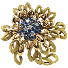 18 Karat Rose and Yellow Gold Sapphire Diamond Pendant Brooch, circa 1920s