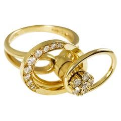 Vintage Norman Teufel 14 Karat Gold Original Swinger Ring, circa 1975