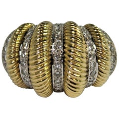 Fluted Gold and Diamond Dome Ring