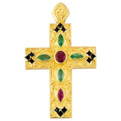 Georgios Collection 18 Karat Gold Ruby, Sapphire and Emerald Byzantine Cross
