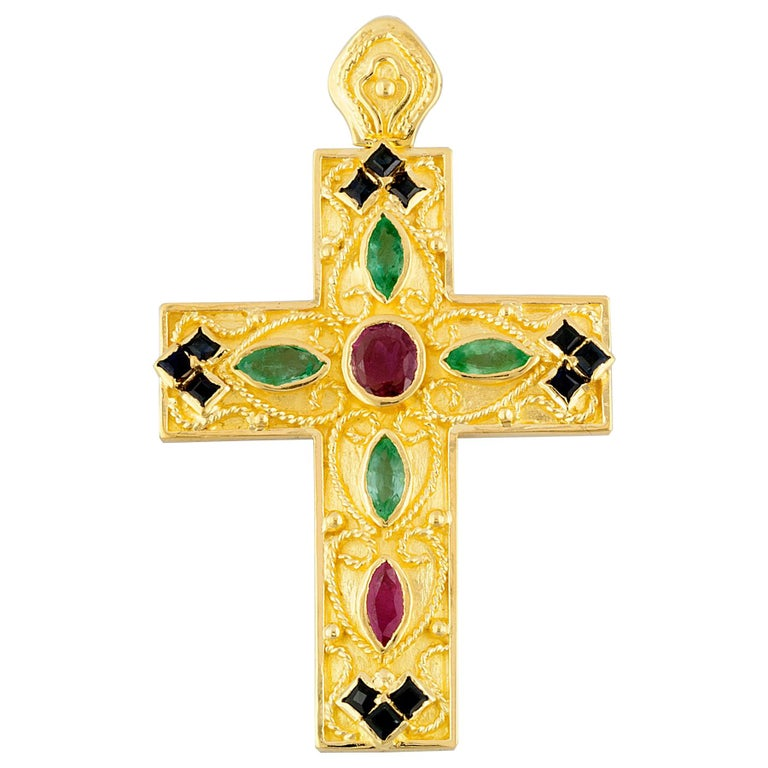 Georgios Collection 18 Karat Gold Ruby, Sapphire and Emerald Byzantine Cross   For Sale
