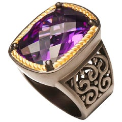 Statement Baroque Style Ring with Amethyst Color Zircon