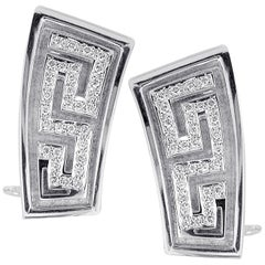 Georgios Collections 18 Karat White Gold Diamond Earrings the Greek Key Design