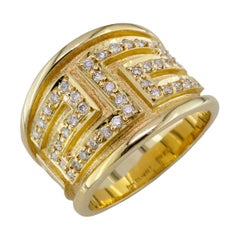 Georgios Collections 18 Karat Yellow Gold Diamond Ring with the Greek Key Design