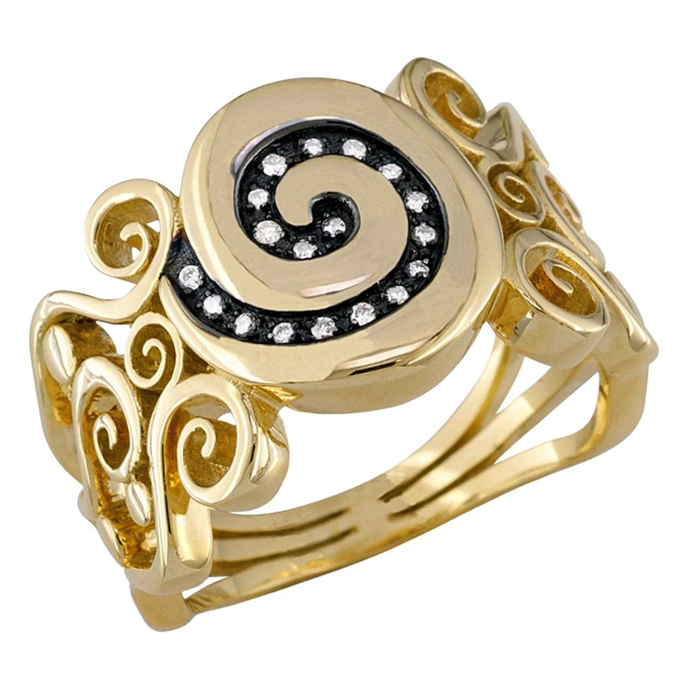 Georgios Collections 18 Karat Yellow Gold Diamond  Greek Key Wide Band Ring