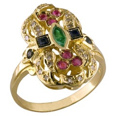Georgios Collections 18 Karat Yellow Gold Byzantine Style Multicolour Gem ring