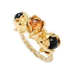 Sylvie Corbelin Three Stones in a Rose Flower Vermeil Ring