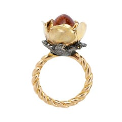 Sylvie Corbelin One of a Kind One Rose Flower Ring with Spessartite Garnet