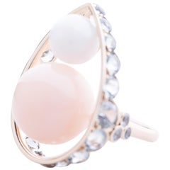 Ring Pink Opal Quartz 26 Aquamarines 10,10 Grams White Gold 18K Metric 53,5
