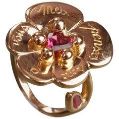Sylvie Corbelin Limited Edition of an 18K Gold Pansy Ring with Rodholite Garnet