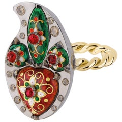 Sylvie Corbelin One of a Kind Paisley Shape Gold and Silver Ring with Enamel