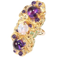 Sylvie Corbelin Pansies ring in Gold and Silver with Amethysts and Moonstone