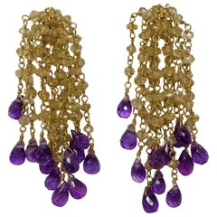 18 Karat Citrine and Amethyst Gold Bead Earrings