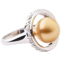 Ring Anne Bourat  One Gold Pearl  19 Diamonds 0,96 cts  White Gold Mount 18K