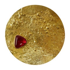 Gold and Red Spinel Pendant for Necklace