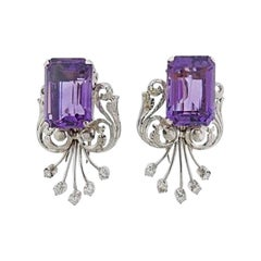 Midcentury 18 Karat Amethyst Diamond Double Clips / Brooches / Pins