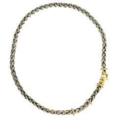 Platinum and 18 Karat Yellow Gold Chain Necklace with Diamond Lobster Clasp