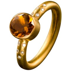 Diamond Citrine and 18 Karat Gold Stacking Ring