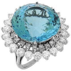 35 Carat Aquamarine and Diamond Platinum Ring
