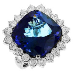 Platinum Diamond Ring with Tanzanite Center