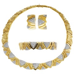 1980s Simayof Yellow Gold and Diamond Necklace Bracelet Earring Set
