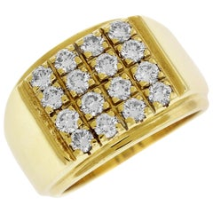 Yellow Gold and Diamond Men's Ring