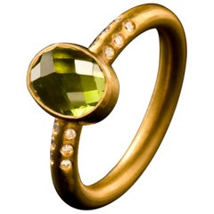 Diamond Peridot and Gold Stacking Ring