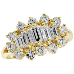 Baguette and Round Diamond Yellow Gold Ring
