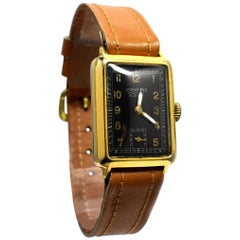 Art Deco 14 Karat Gold-Plated Gents Wristwatch by Junghans
