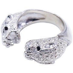 Double Head Jaguar Ring Black Diamond Sterling Silver Cocktail J Dauphin